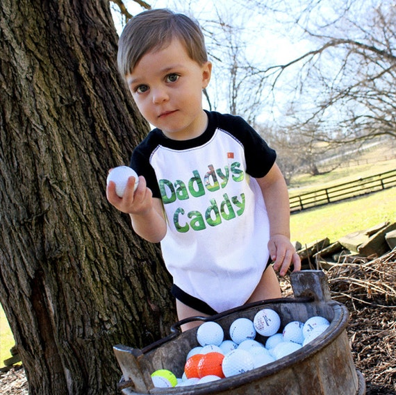 Funny Boy Bodysuit Golf Romper Black Raglan Sleeve Boy Baby Bodysuit   by Mumsy Goose