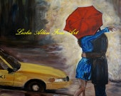 """Couple In Love SALE Couple Kissing Couple In Rain Hugging Umbrella Taxi New York Painting """"Hello Kiss"""""""
