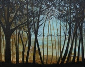 """Trees Landscape SALE Painting of Trees Sunset Morning Landscape Teal Gold Black 16 x 20 """"In The Distance """" Original"""