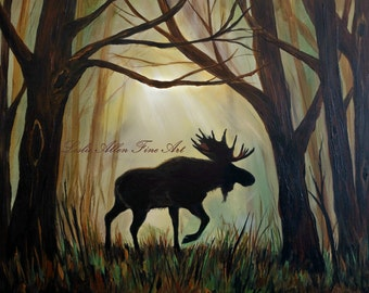 Moose Art Moose Painting Bull Moose Decor Moose Theme Moose Art Print Cabin Decor Rustic Wildlife Art Moose Wall Art  Leslie Allen Fine Art