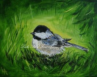 """Chickadee Painting Chickadees Bird Birds Birdies Paintings Bird Art Lime Green Wall Art  """"In The Grass"""" Leslie Allen Fine Art"""