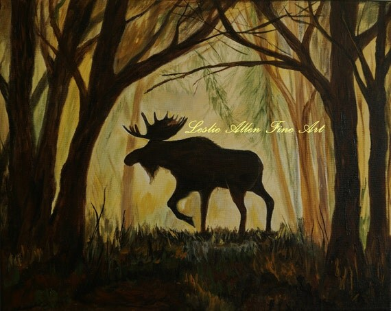 Moose Painting Forest Pine Trees Woods Cabin Decor Rustic Wildlife Wilderness Mountain Pond 20x16