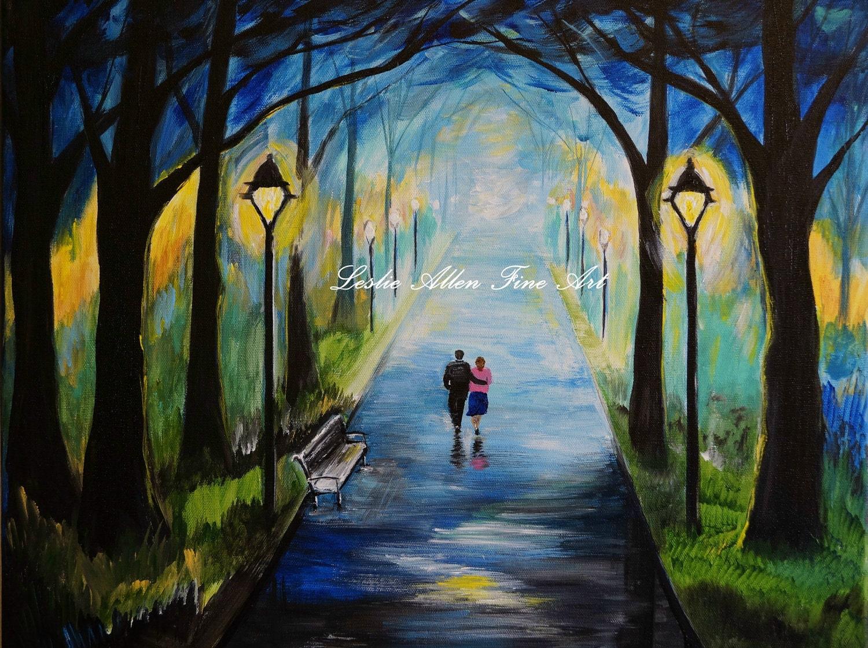 Couple Painting Couples Romance Romantic SALE Lighted Park