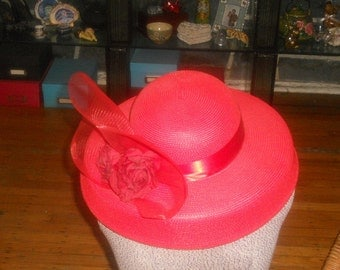 Fabulous Vintage Red Straw Hat With Roses & Ruffle Trim