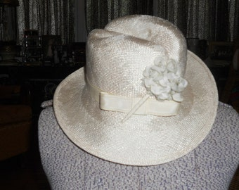 Vintage 1960's Mr. Charles Ivory Straw Hat With Floral Trim
