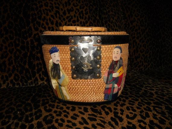 Fabulous 1940's 1950's 1960's Asian Chinese Box Bag Wicker Purse Handbag Dolls
