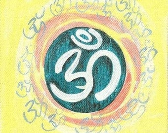 Sunny and Vibrant - Handmade Original Om (Aum) from Yoga Series- 6 x 6 inches on Canvas