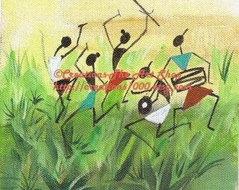 Go Green Dance - Reproduction of Original Handmade Indian Folk Art Painting - Wall Art- 6 x 6 inches- etsy folk