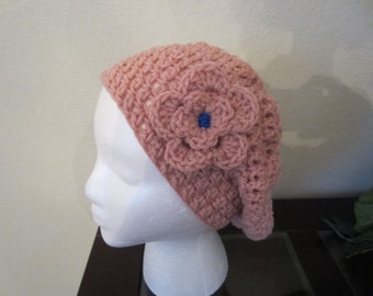 Pink Crochet Slouchy Hat With Flower