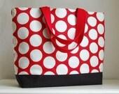 Red Polka Dot XL Extra Large Beach Bag / BIG Tote Bag - Ready to Ship