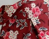 Daisy Bouquet Berry Fabric Pleated Hobo Handbag / Purse - READY TO SHIP