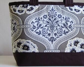 Grey Primrose Fabric Tote Bag - Ready to Ship
