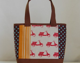 Echino Red Scooters Fabric Tote Bag - READY TO SHIP