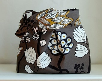 Funky Tree Fabric Pleated Hobo Handbag / Purse - READY TO SHIP