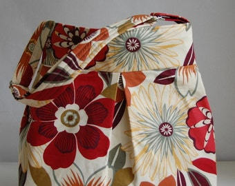 Anemone Fabric Pleated Hobo Handbag / Purse READY TO SHIP