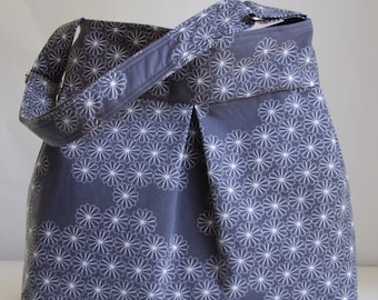 Gray Millefiori Fabric Pleated Hobo Handbag / Purse - READY TO SHIP