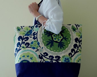 Cavallo Blue XL Extra Large Big Tote Bag / Beach Bag - Ready to Ship
