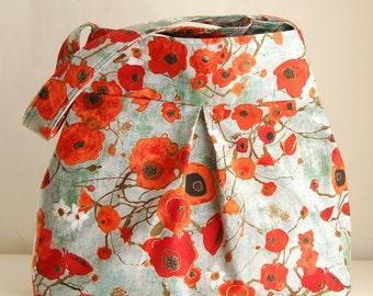 Bunch of Poppies Fabric Pleated Hobo Handbag Purse - READY TO SHIP