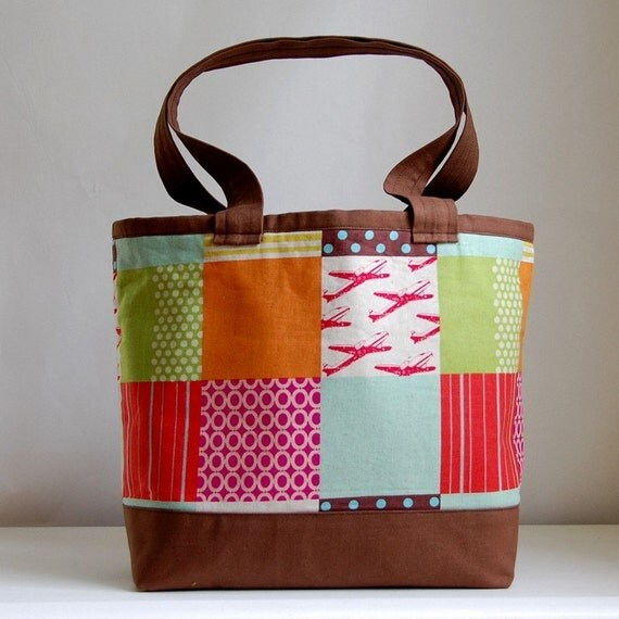 Echino Red Planes Patchwork Tote Bag