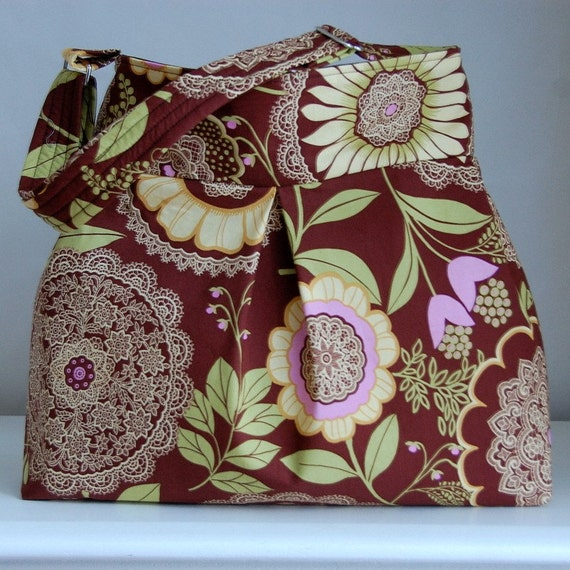 Brown Lacework Pleated Hobo Handbag / Purse - READY TO SHIP