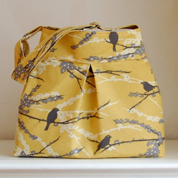 Sparrows in Yellow Pleated Hobo 42 - READY TO SHIP