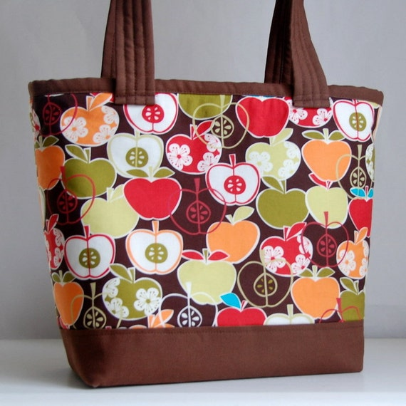 Apples in Chocolate Tote Bag - READY TO SHIP