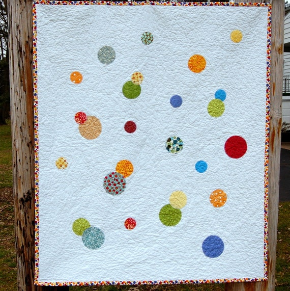 Circles Modern Baby Quilt - READY TO SHIP