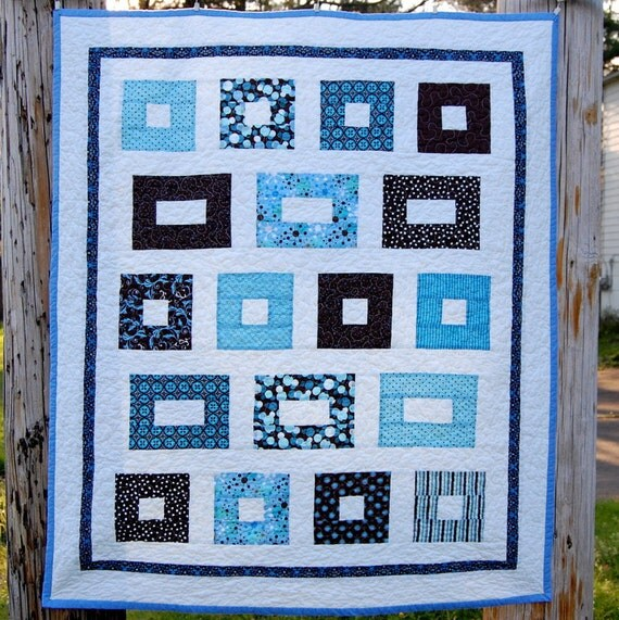 Blue and Brown Rectangles Quilt - READY TO SHIP