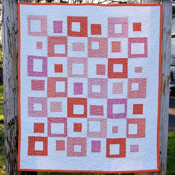 Orange Bright Blocks Modern Baby Quilt