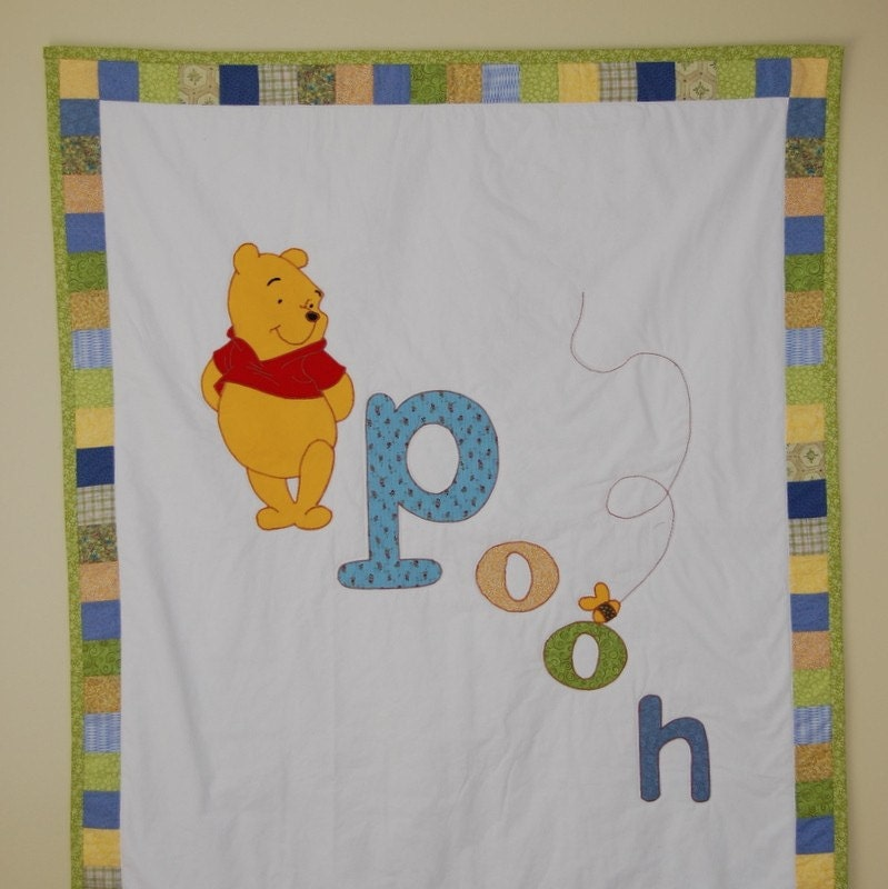 Winnie The Pooh Applique Baby Quilt By Tanneicasey On Etsy