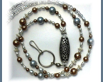 Bronze Pearls Lanyard/Id Badge Holder/ Id Necklace