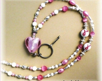 Pink Ribbon Lanyard Beaded ,Badge Holder, Id Necklace