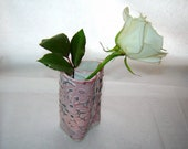 Heart Vase or Small Utensil Holder in Textured Pink and Gray