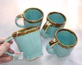 Robins Egg Blue Mug Set of 4 with Brown Rim