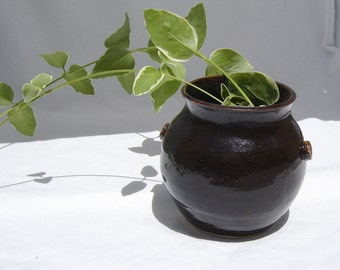 Black Pottery - Flower Vase - Utensil Holder - Stoneware - Faux Cast Iron - Home Decor - witch cauldron