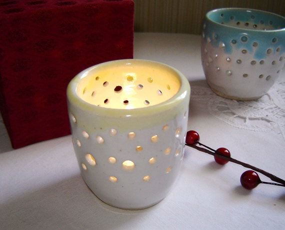 Ceramic Votive Candle Holder Luminary in White with Pale Yellow Rim