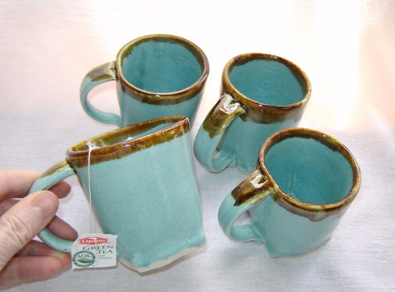 Robins Egg Blue Mug Set of 4 with Brown Rim