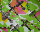 six BEAUTIFUL rosary rosaries - 3 crystal, one pink glass, one wood, one plastic
