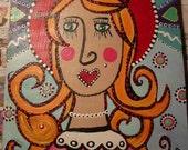 Juniperbean Religious folk art  painting