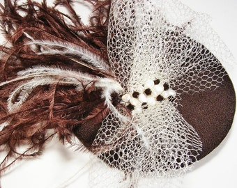 Boxing Day Sale - Brown and Cream Ostrich Feather Fascinator