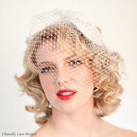 Silver and White Vintage Inspired Cocktail Hat Silver Birdcage Veil