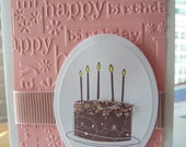 Birthday Cake Card - - Happy Birthday - Shell Pink - Buy More and Save