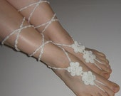 FREE SHIPPING - Lace Sandals - Crocheted Shoes - Gypsy Sandals - Hippie Style Sandals - Wedding - Off White