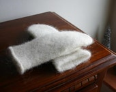 Elegant Icelandic wool mittens - Felted White Mittens - S-XL  Made to order