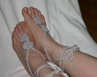 FREE SHIPPING  - Lace Sandals - Crocheted Shoes - Gypsy Sandals - Hippie Style Sandals - Light gray