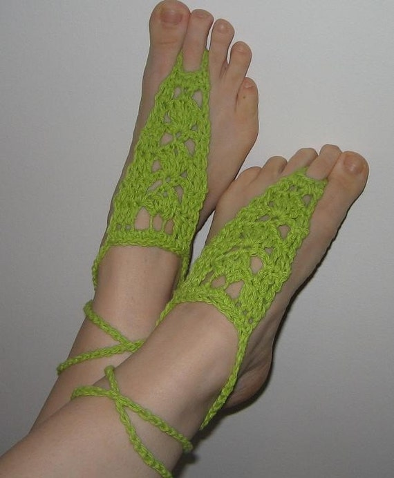 FREE SHIPPING - Lace Shoes - Old Gypsy Style Crochet Shoes - Crocheted Sandals - Beach shoes - Lime - Cotton