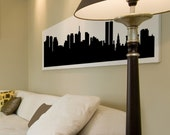 "NEW YORK CITY (Pre-9/11) Skyline Silhouette, Cityscape Vinyl decal, Wall Sticker (many sizes) 48"" x 12"""