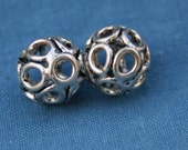 2 Filagree Sterling Silver Ball Beads