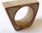 Square-ish wooden ring in cream - Made to order