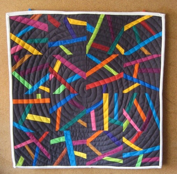 Pick Up Sticks - Modern Patchwork Mini Quilt, Wall Quilt, or Table Quilt
